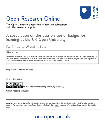 A speculation on the possible use of badges for learning at the UK Open University image