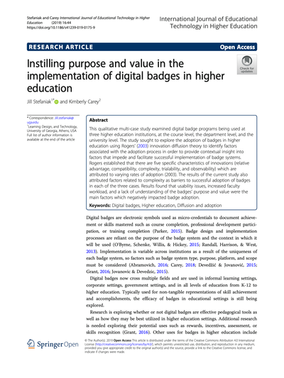 Instilling purpose and value in the implementation of digital badges in higher education image