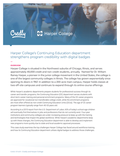 Harper College's Continuing Education department strengthens program credibility with digital badges image